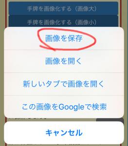 Google Chrome for iOSの画像に関するメニュー