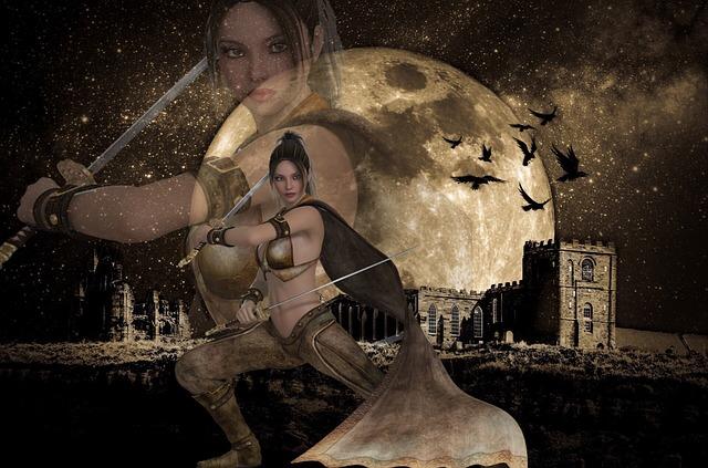 月と女剣士